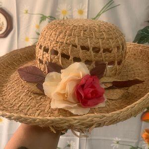 Vintage Accessories - Vintage woven straw granny flower brim sun hat
